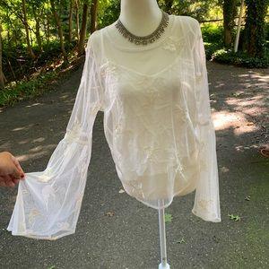 White sheer bell sleeve rose top